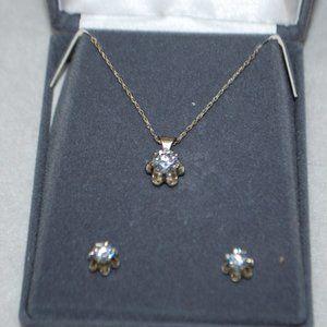 Diamonique Sterling Necklace & Earring Set